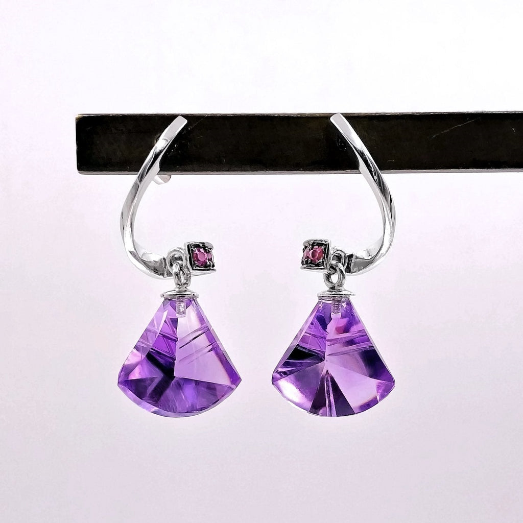Joke Quick Custom-Cut Amethyst and Ruby White Gold Spiral Drop Earrings - Szor Collections