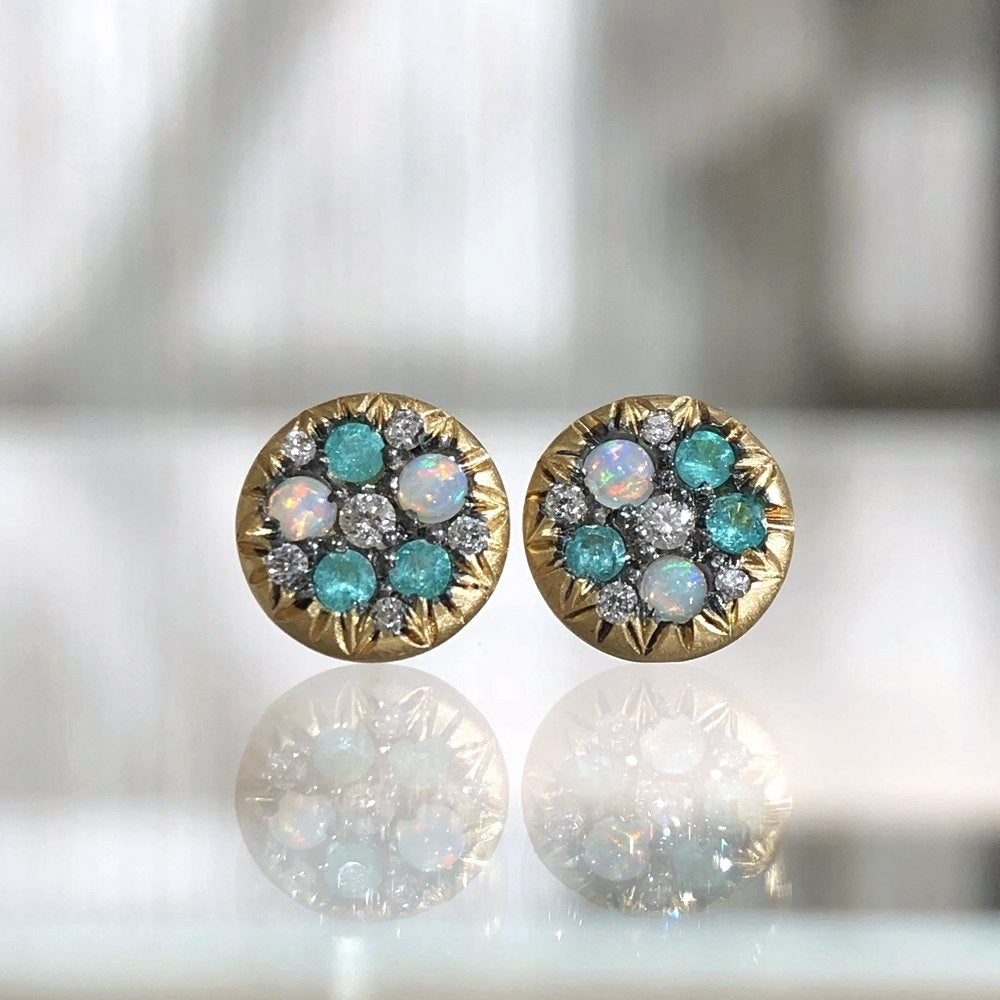 Joke Quick Australian Opal Paraiba Tourmaline Diamond Starstruck Stud Earrings - Szor Collections