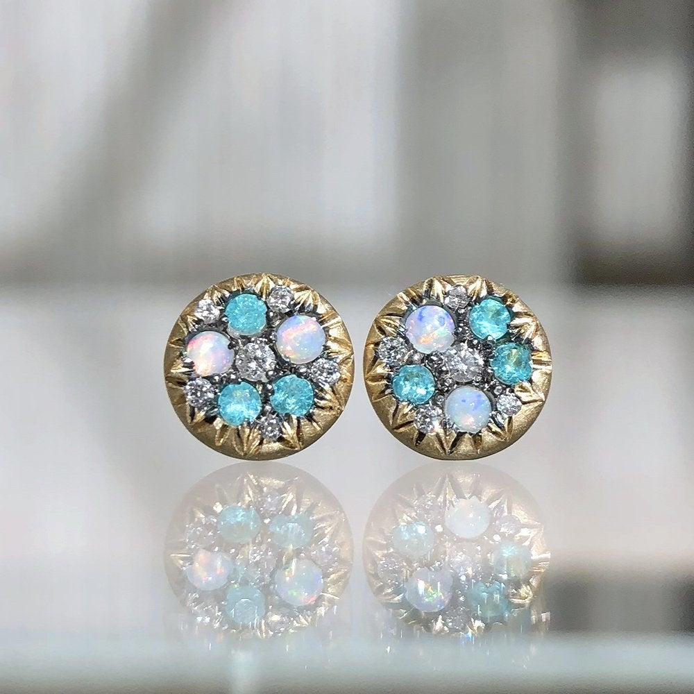 Joke Quick Australian Opal Paraiba Tourmaline Diamond Starstruck Stud Earrings (Special Order) - Szor Collections