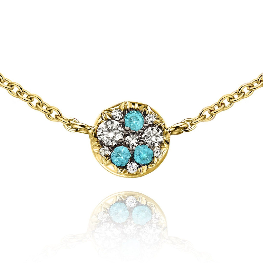 Joke Quick Paraiba Tourmaline Diamond Starstruck Necklace (Special Order) - Szor Collections