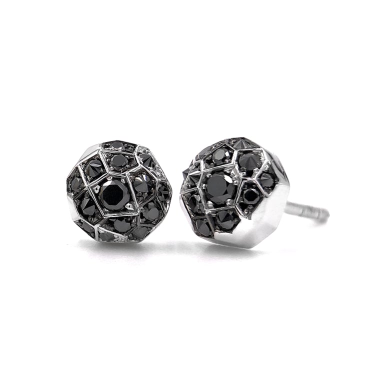 Joke Quick Inverted Black Diamond Gold Innervisions Stud Earrings - Szor Collections