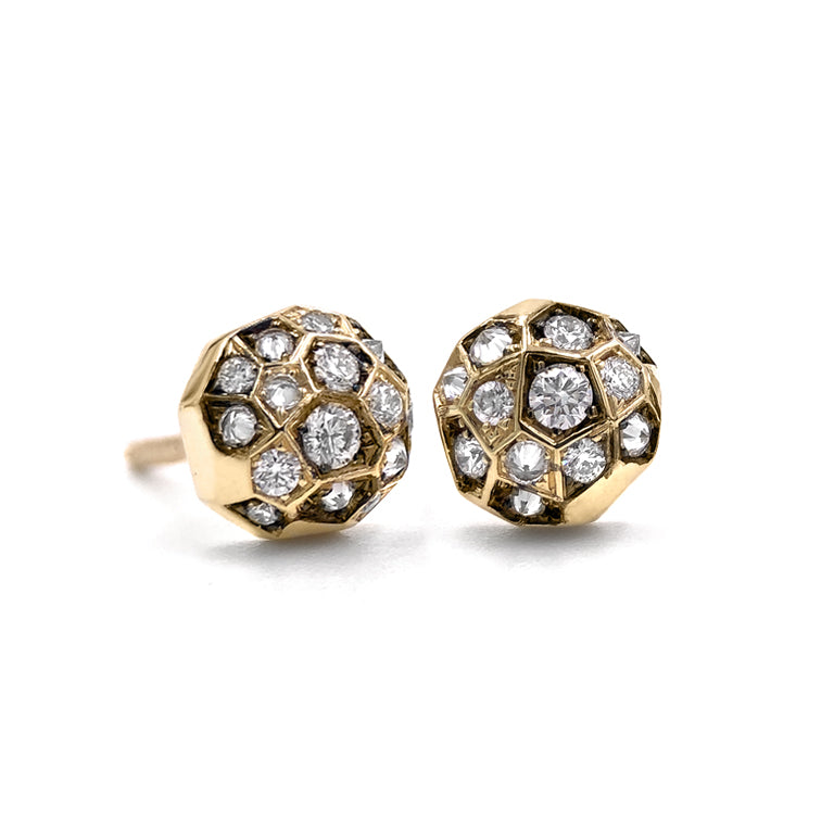 Joke Quick Inverted White Diamond Gold Innervisions Stud Earrings - Szor Collections