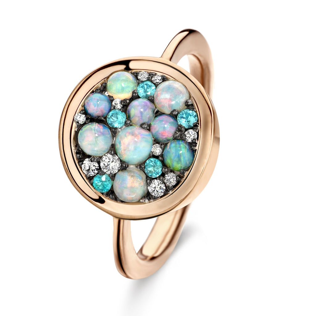 Joke Quick Paraiba Tourmaline Australian Opal White Diamond Starstruck Ring - Szor Collections