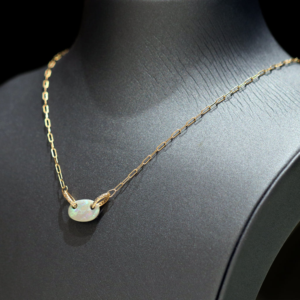 Just Jules Floating Boulder Opal Diamond Link Gold Necklace - Szor Collections