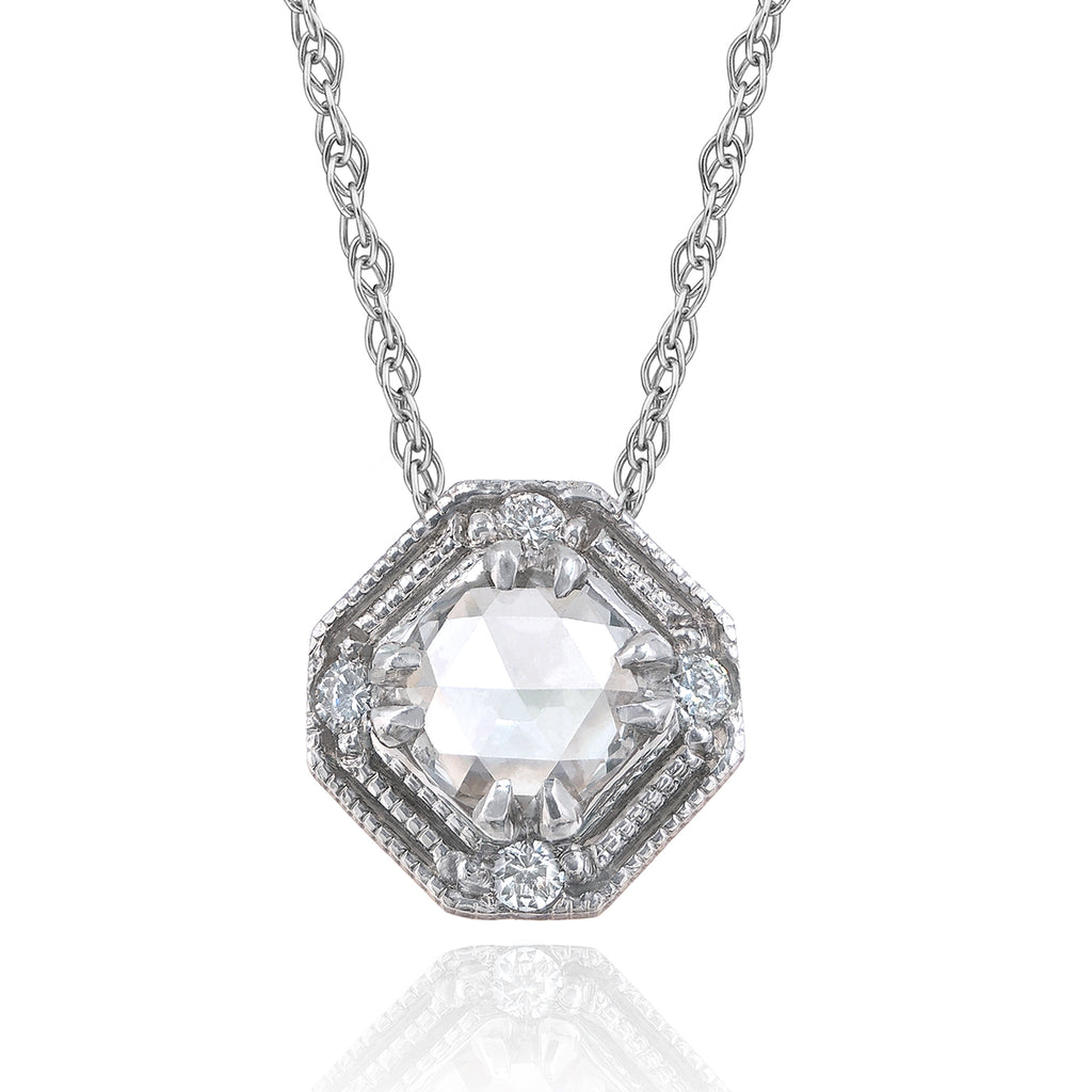 Just Jules Vintage Art Deco Rose-Cut Diamond Gold Pendant Necklace - Szor Collections