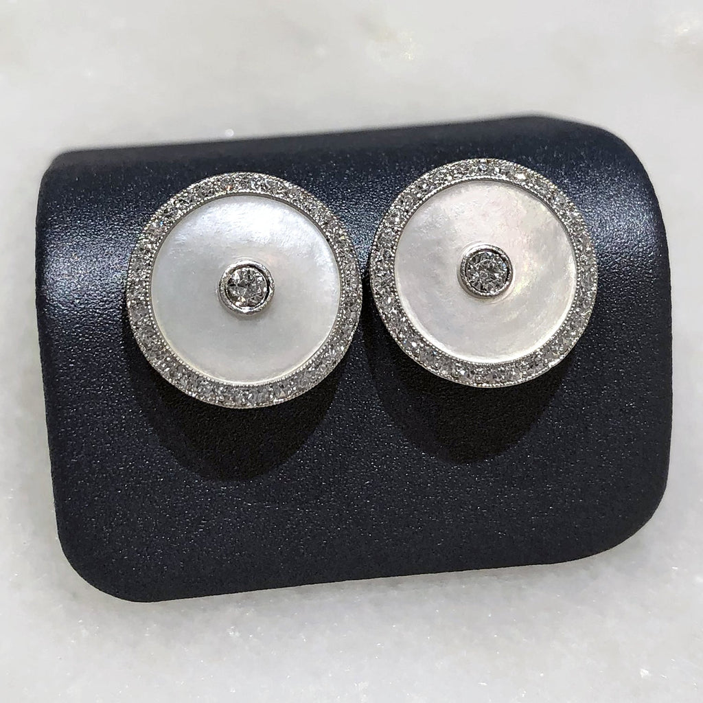 Just Jules White Diamond Mother of Pearl Vintage Cufflink Stud Earrings - Szor Collections