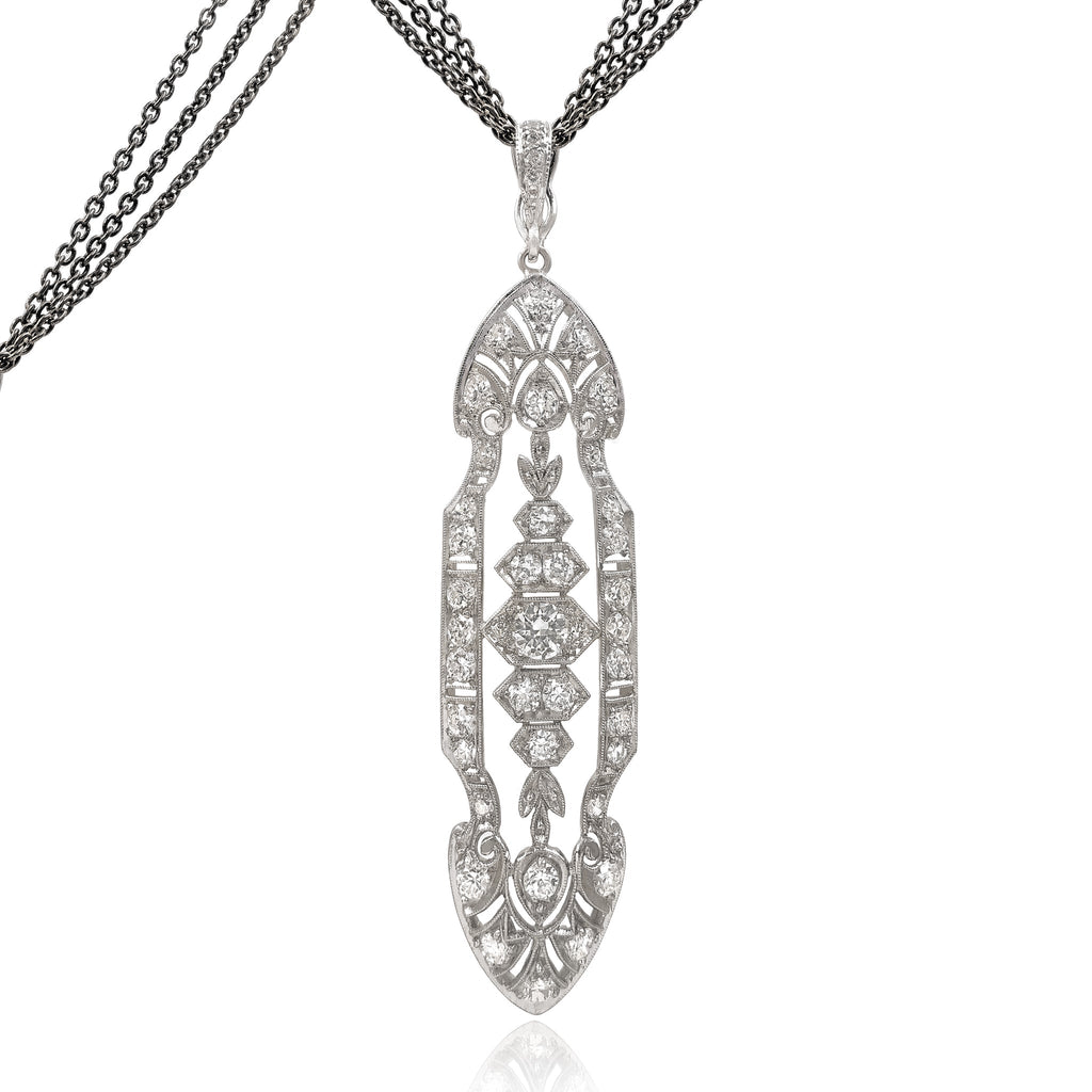 Just Jules Art Deco Platinum Gold Diamond Long Triple Chain Necklace - Szor Collections