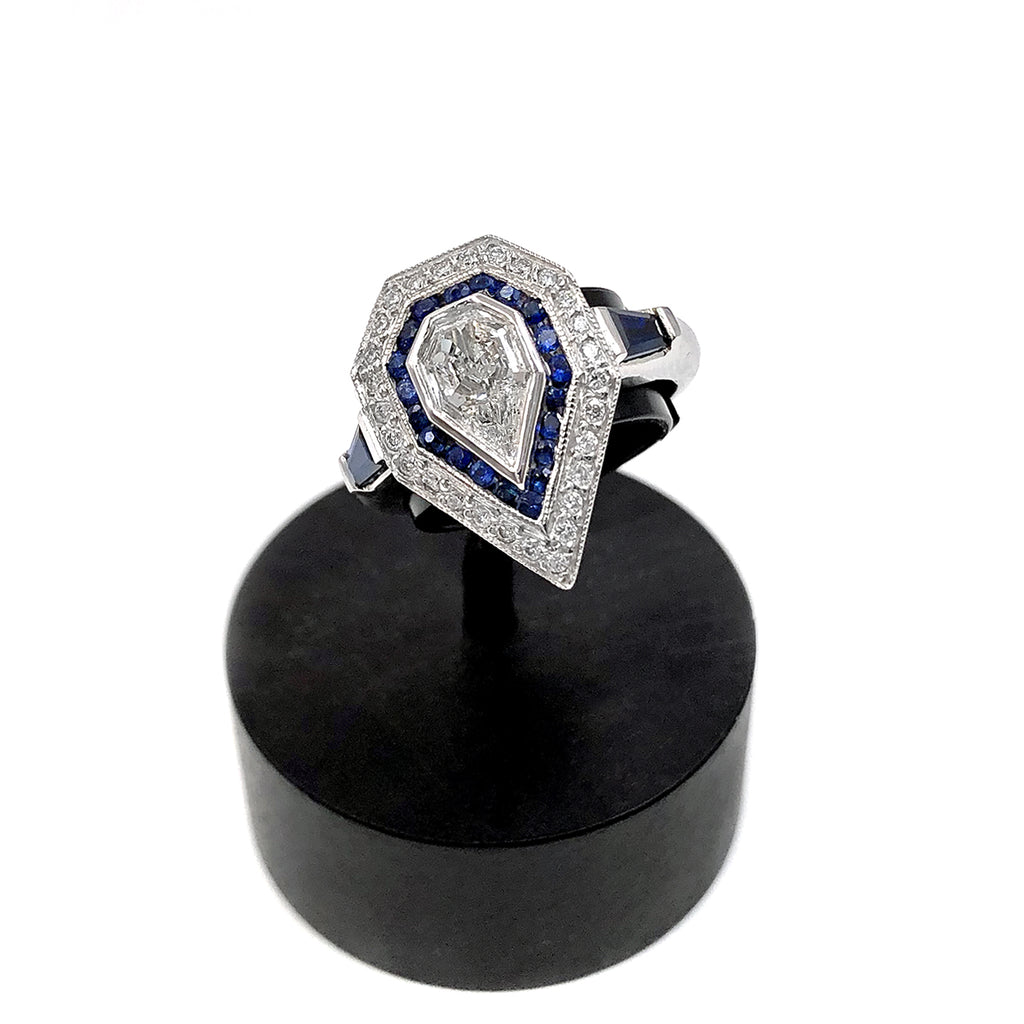 Just Jules Vintage Art Deco Inspired Fancy Kite Diamond Blue Sapphire Gold Ring