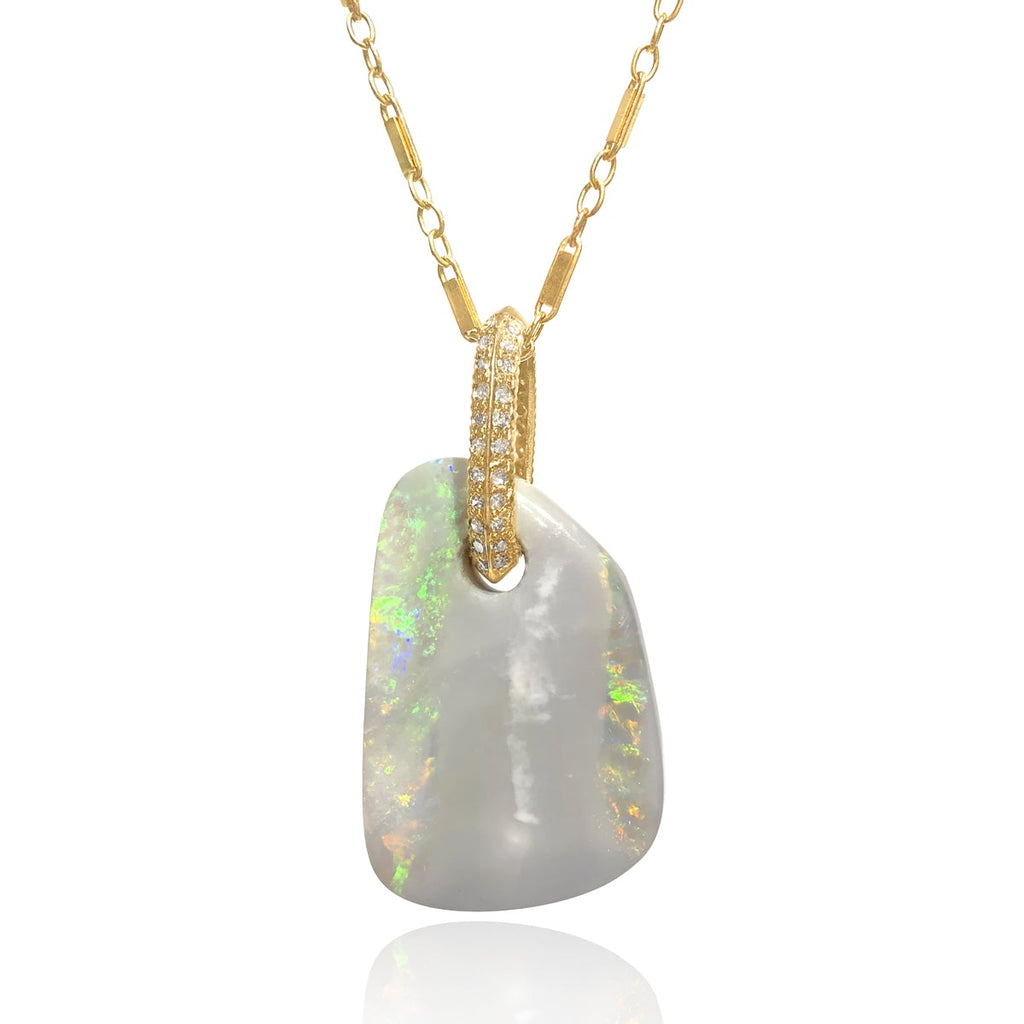 Just Jules Opal Diamond Gold Detachable Pendant Necklace