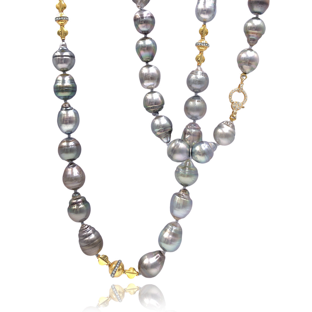 Just Jules Long Tahitian Pearl Diamond Gold Necklace - Szor Collections