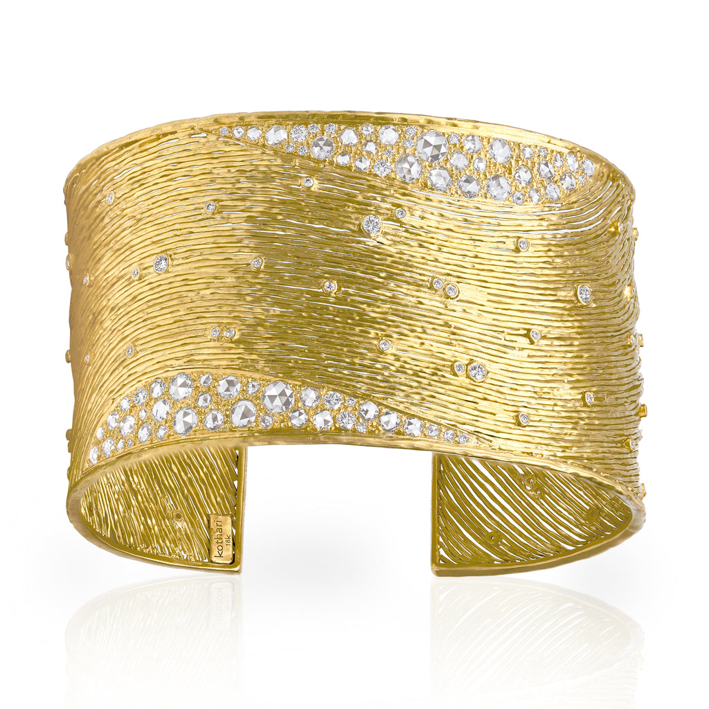 Kothari Brilliant + Rose-Cut White Diamond Gold Cuff Bracelet - Szor Collections