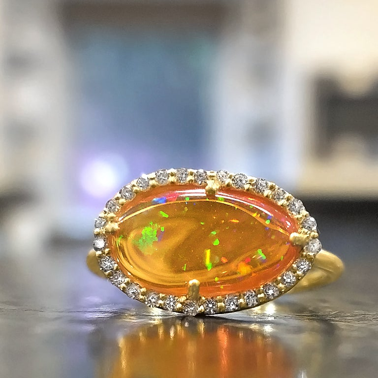 Kothari Freeform Mexican Fire Opal White Diamond Gold One of a Kind Ring - Szor Collections
