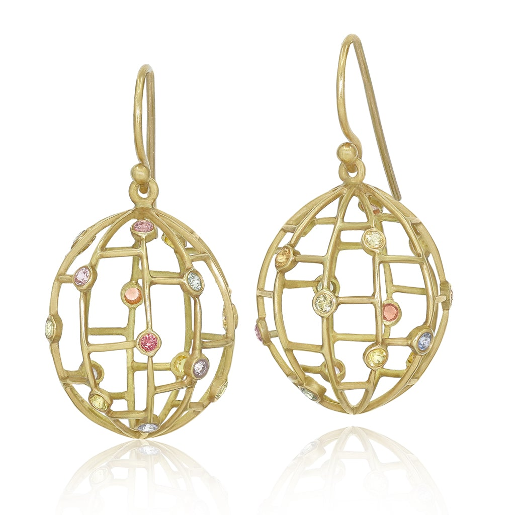Kothari Pastel Rainbow Sapphire Matte Gold Open Cage Drop Earrings - Szor Collections