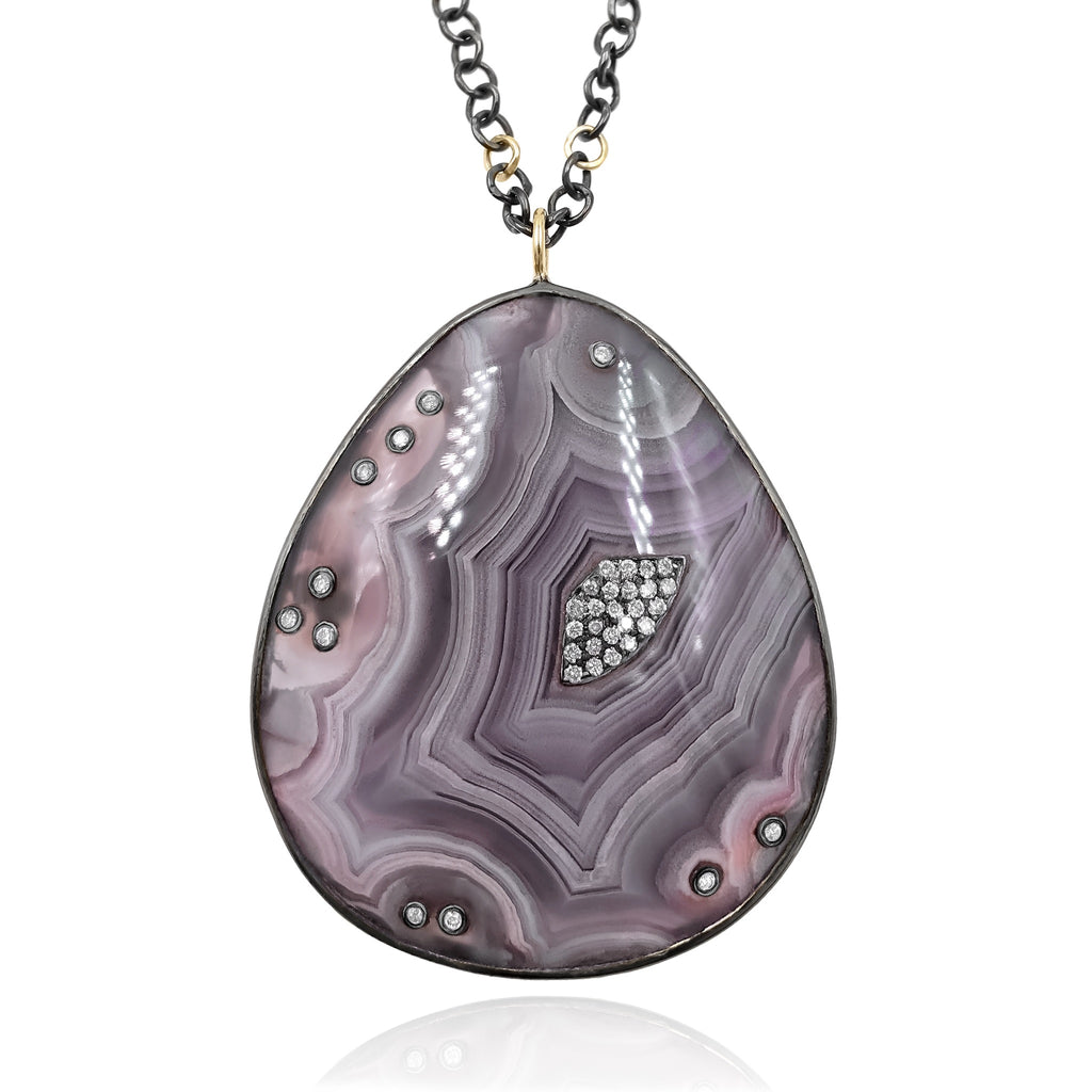 Kothari Diamond Embedded Crazy Lace Agate One of a Kind Black and Gold Necklace - Szor Collections