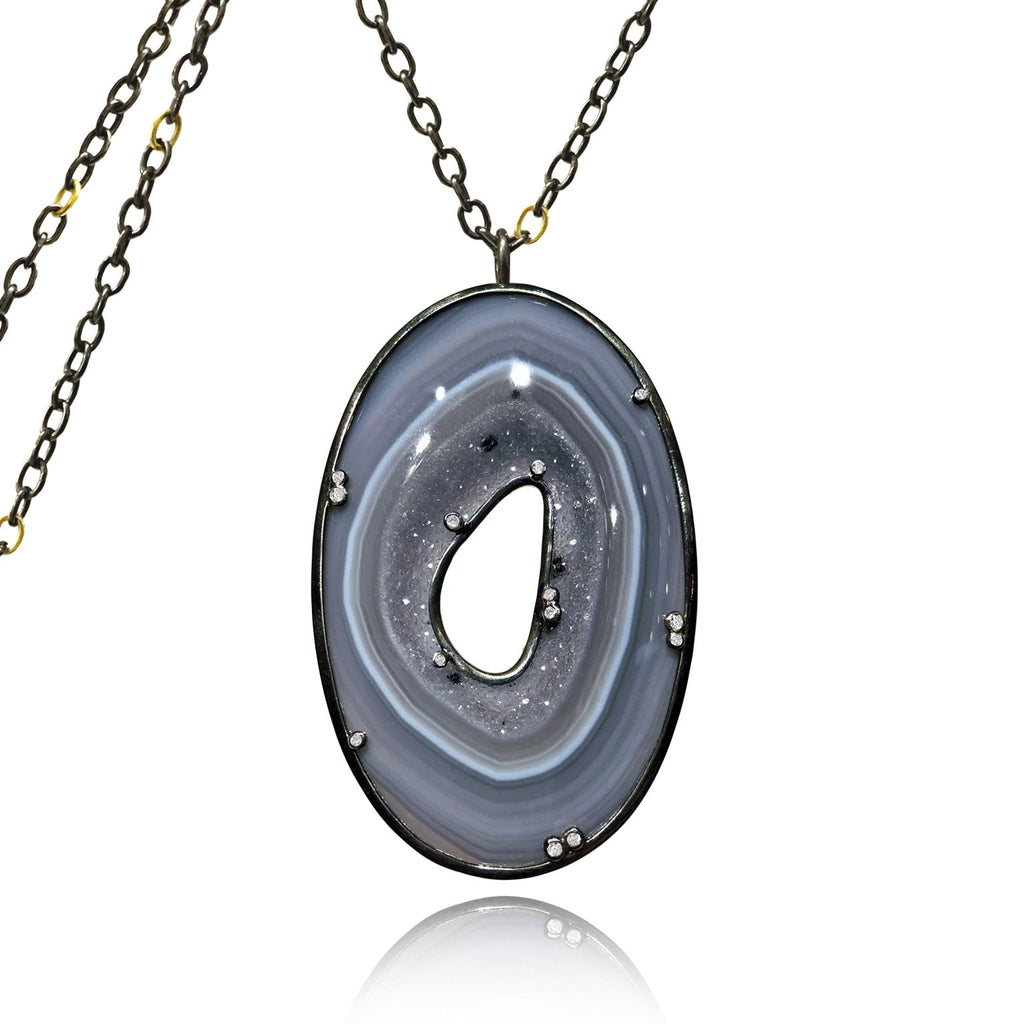 Kothari Shimmering Violet Blue Druzy Agate White Diamond Long Necklace - Szor Collections