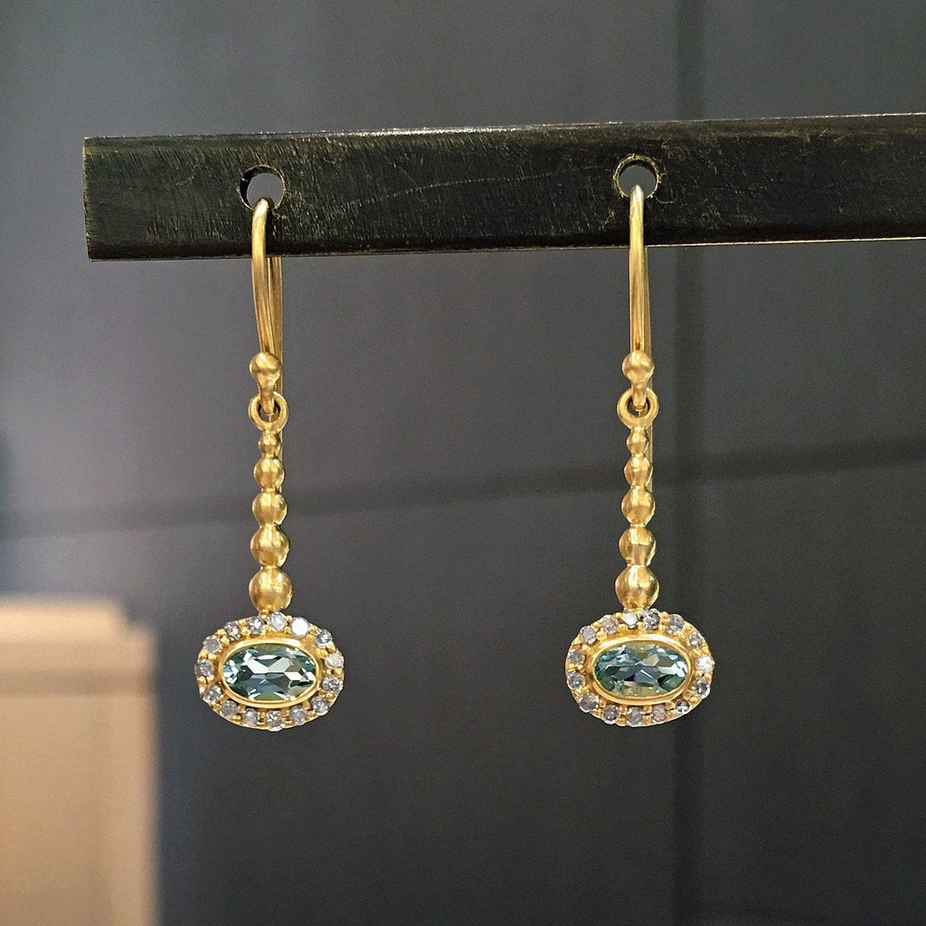 Kothari Faceted Soft Blue Aquamarine Diamond Gold Pendulum Earrings - Szor Collections - 2
