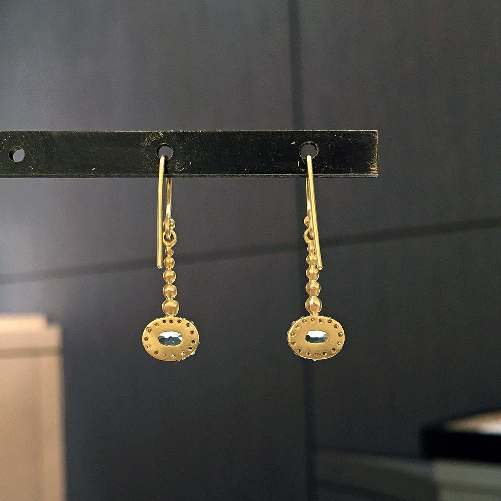 Kothari Faceted Soft Blue Aquamarine Diamond Gold Pendulum Earrings - Szor Collections