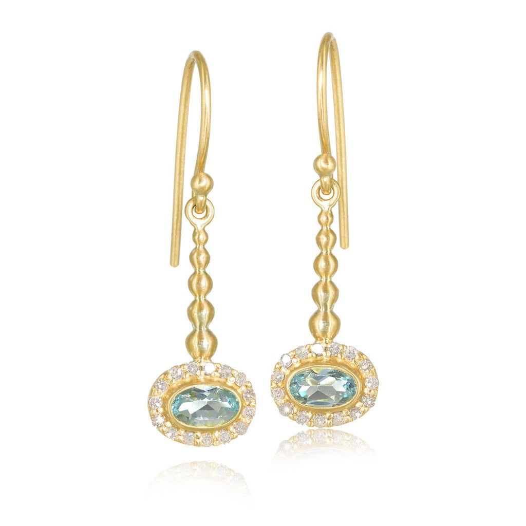 Kothari Faceted Soft Blue Aquamarine Diamond Gold Pendulum Earrings - Szor Collections - 1