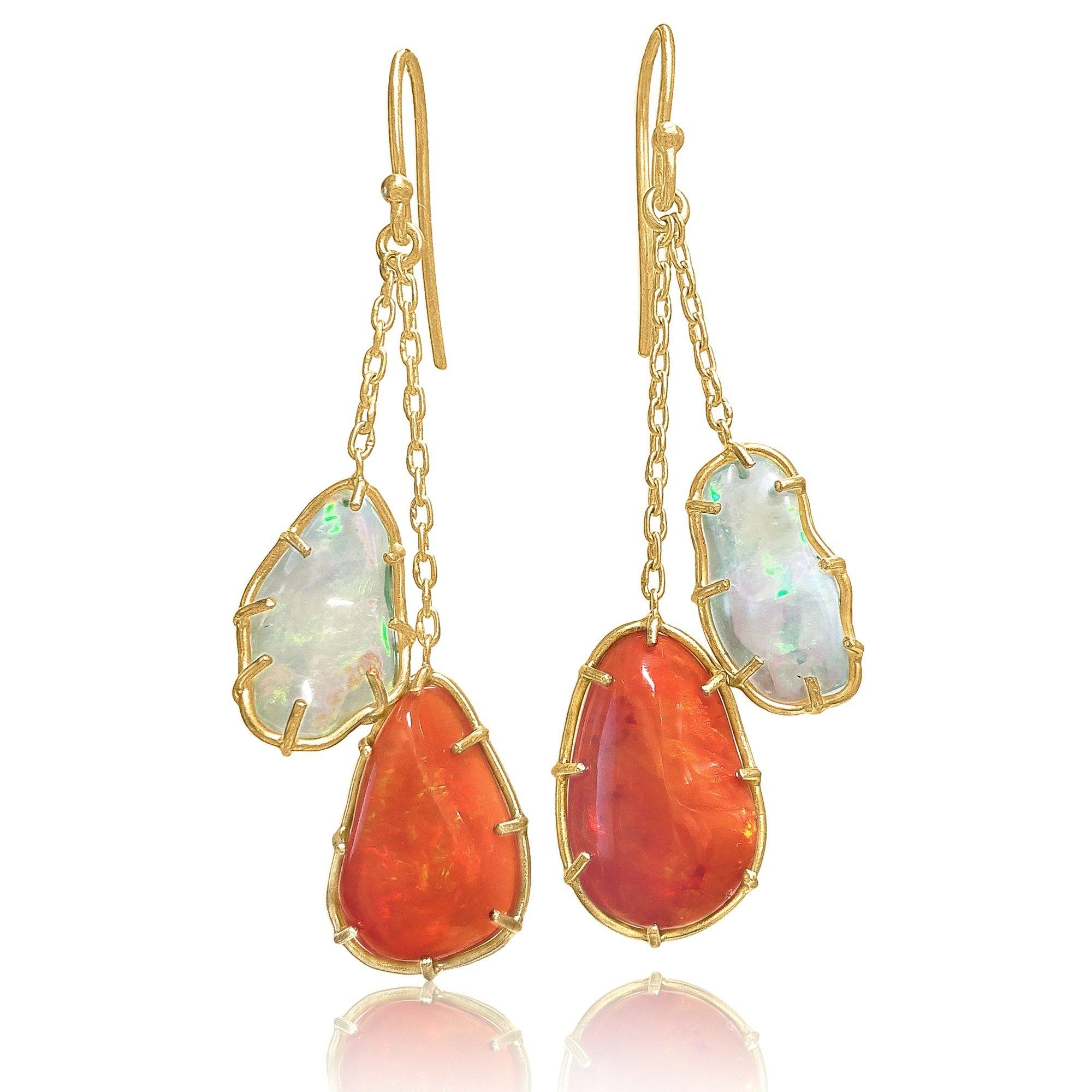 8b91852f8 ... Kothari Freeform Multicolored Mexican Opal One of a Kind Chain Drop  Earrings - Szor Collections ...