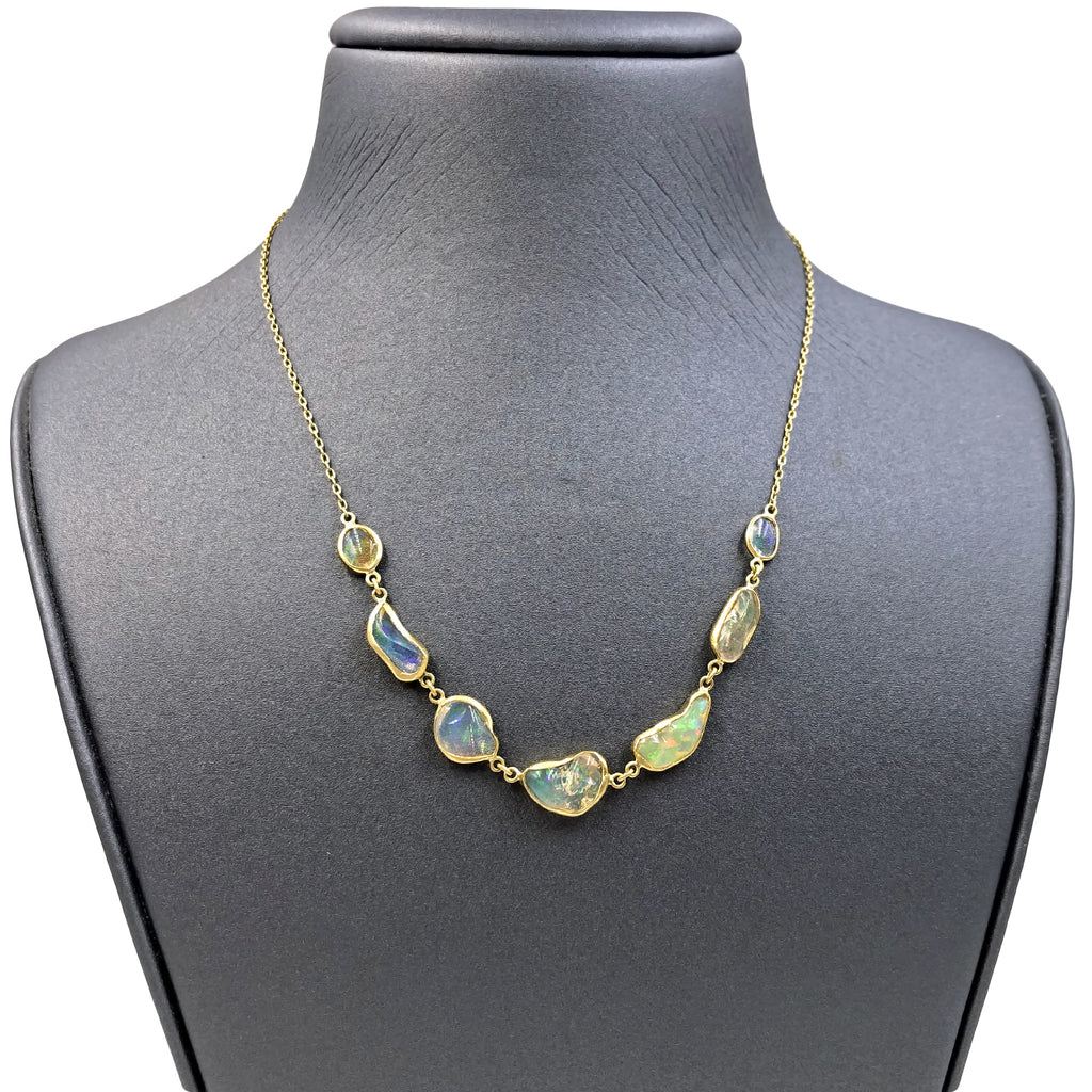 Kothari Fiery Freeform Mexican Opal In-Line Gold One of a Kind Necklace - Szor Collections