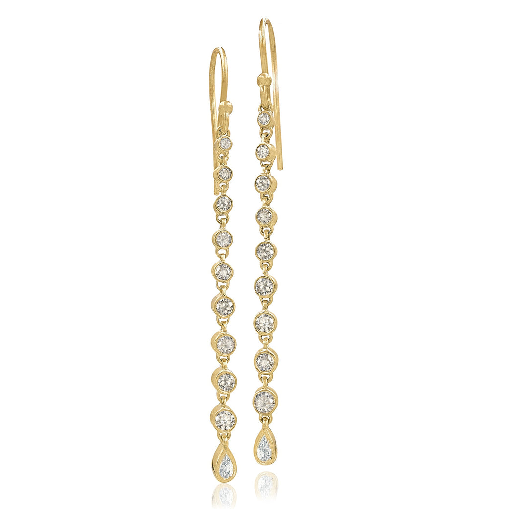 Kothari Champagne and White Diamond Grand Dangle Drop Earrings - Szor Collections