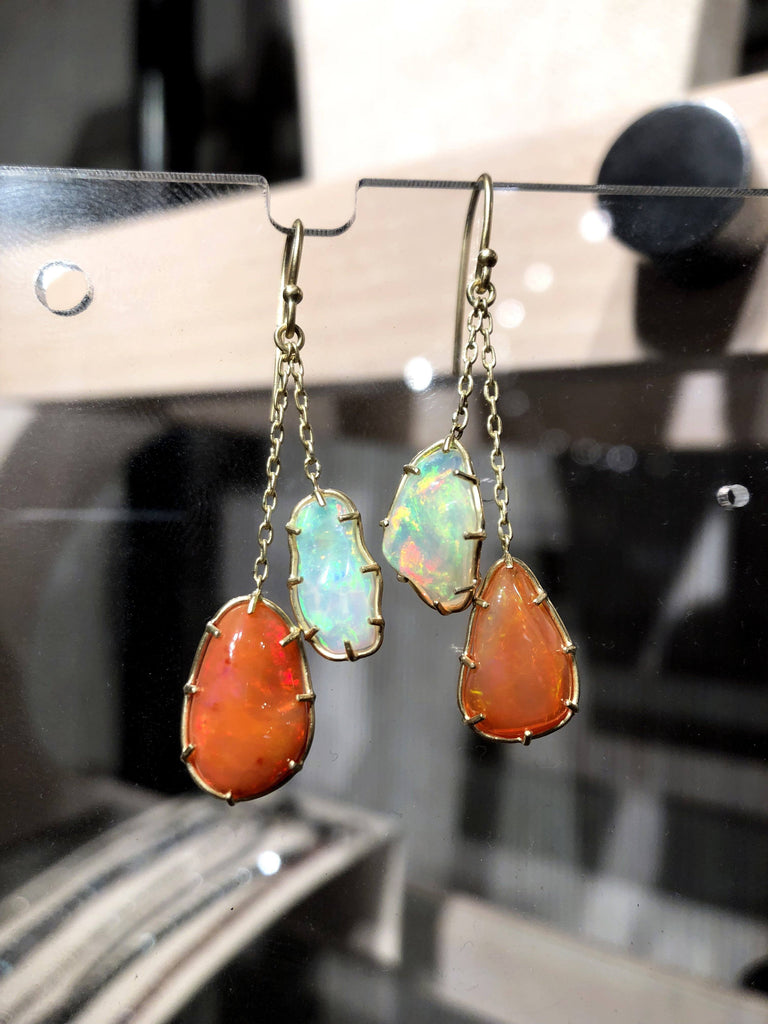 Kothari Freeform Multicolored Mexican Opal One of a Kind Chain Drop Earrings - Szor Collections