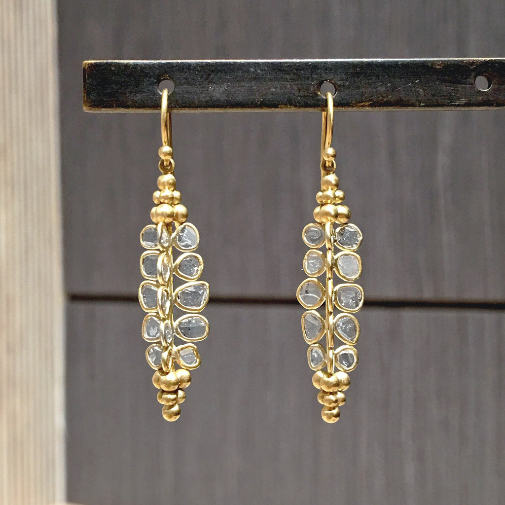 Kothari Polki Diamond Gold Handmade Drop Earrings - Szor Collections