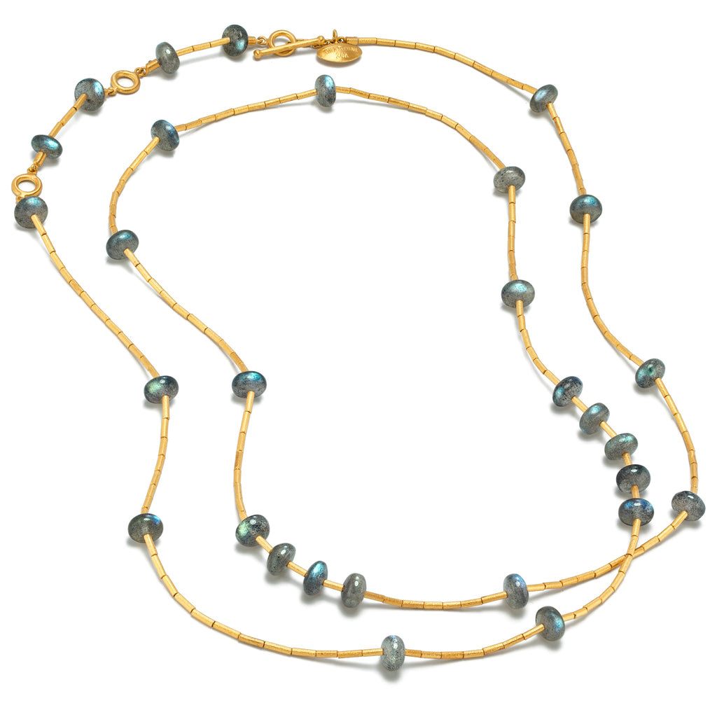 Lika Behar Labradorite 24k Gold Long Necklace - Szor Collections