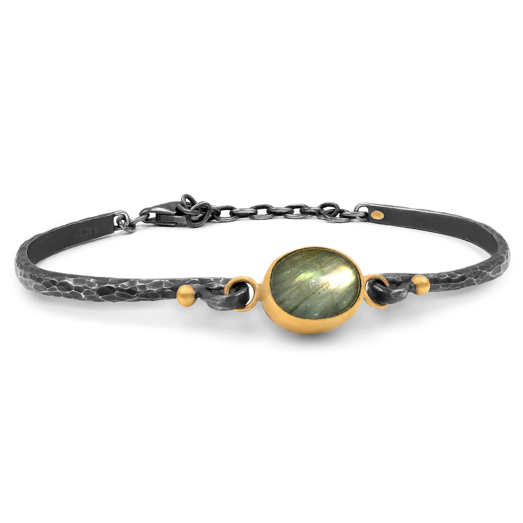 Lika Behar Labradorite 24k Gold Oxidized Silver Bracelet - Szor Collections