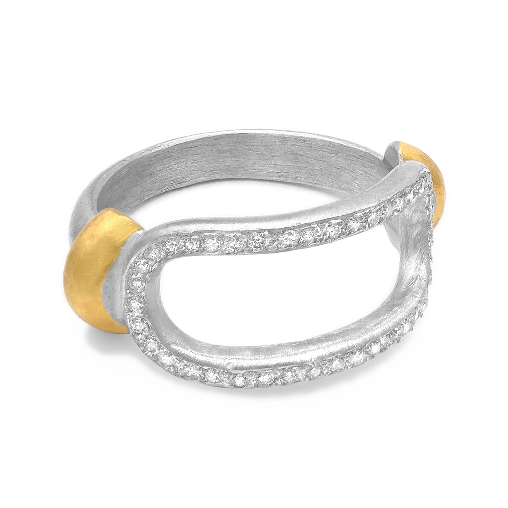 Lika Behar White Diamond Matte Silver Open Curve Ring - Szor Collections