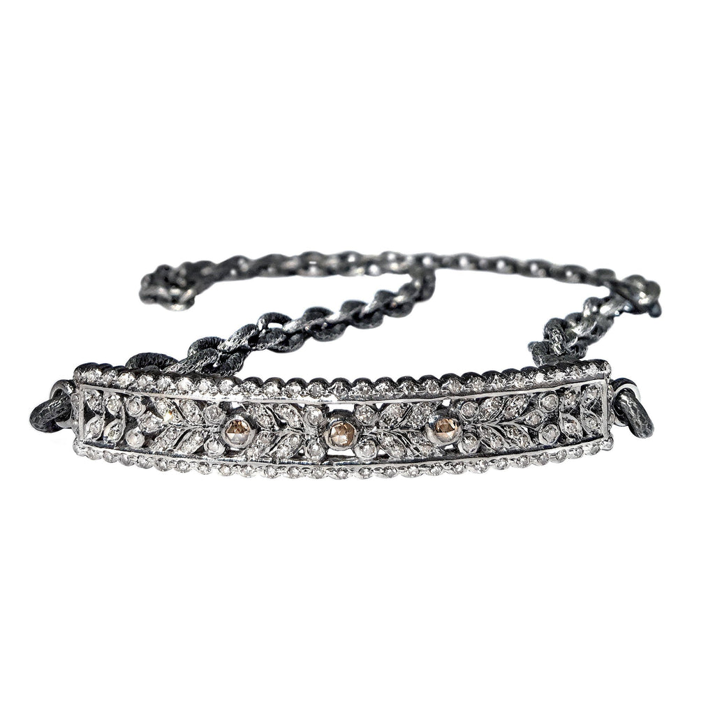 Liza Beth White Cognac Diamonds Curved Silver Bar Steel Chain Wrap Bracelet
