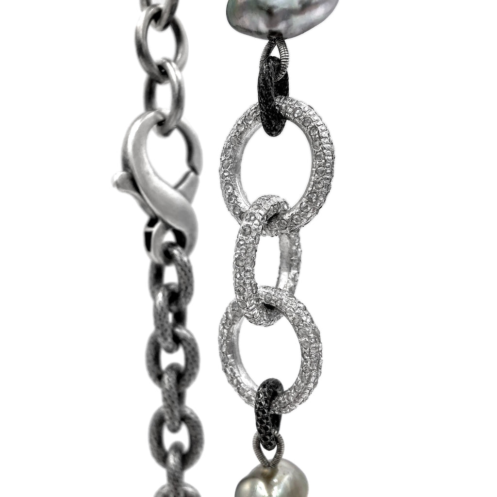 Liza Beth Tahitian Keshi Pearl Triple Diamond Link One of a Kind Chain Necklace - Szor Collections