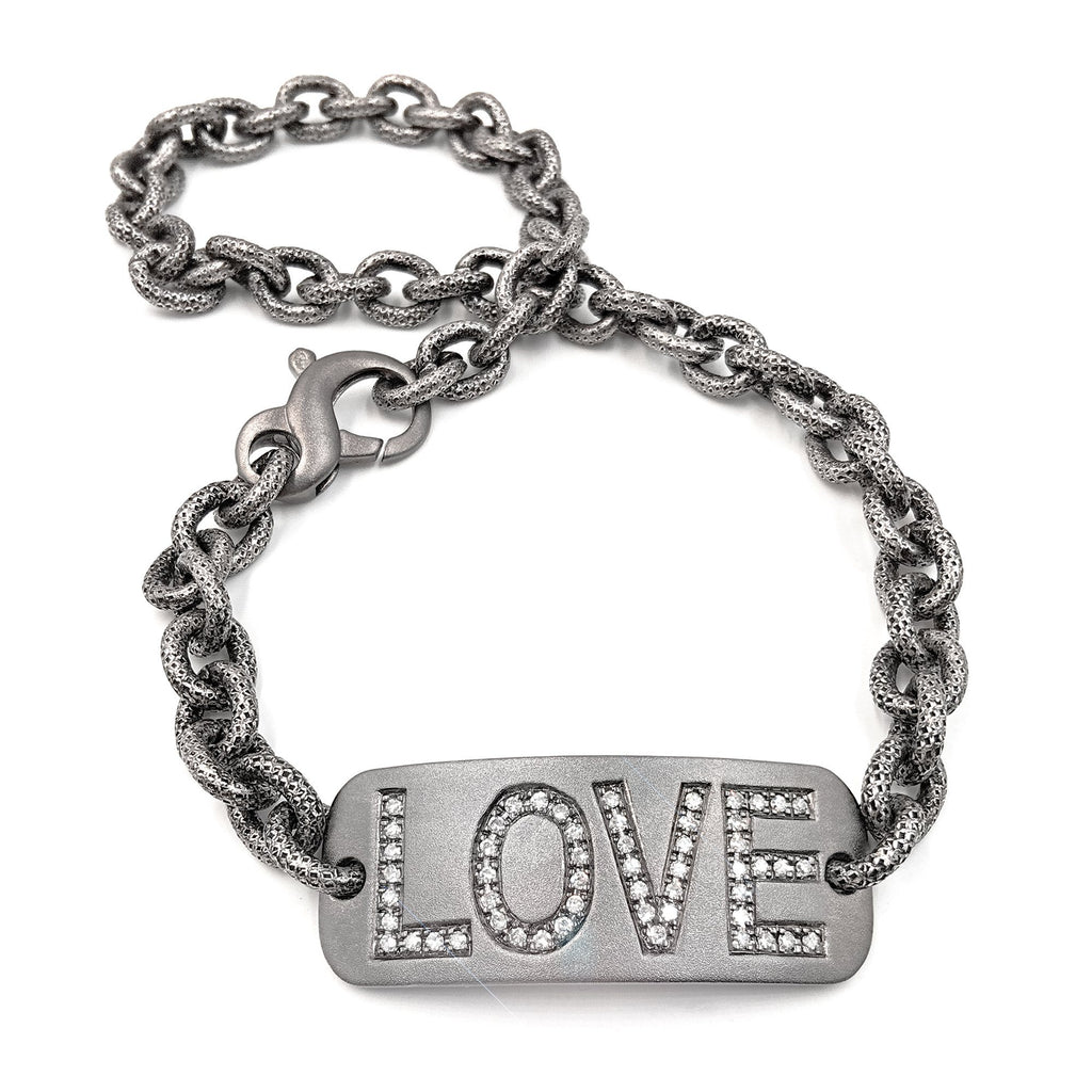 Liza Beth White Diamond Personalized LOVE Double Wrap Bracelet (Special Order) - Szor Collections