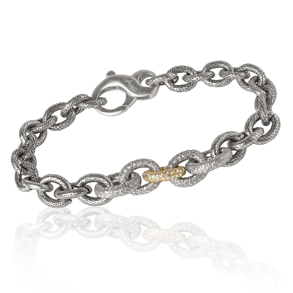 Liza Beth Five Diamond Link Gold Silver Steel Bracelet (Special Order) - Szor Collections