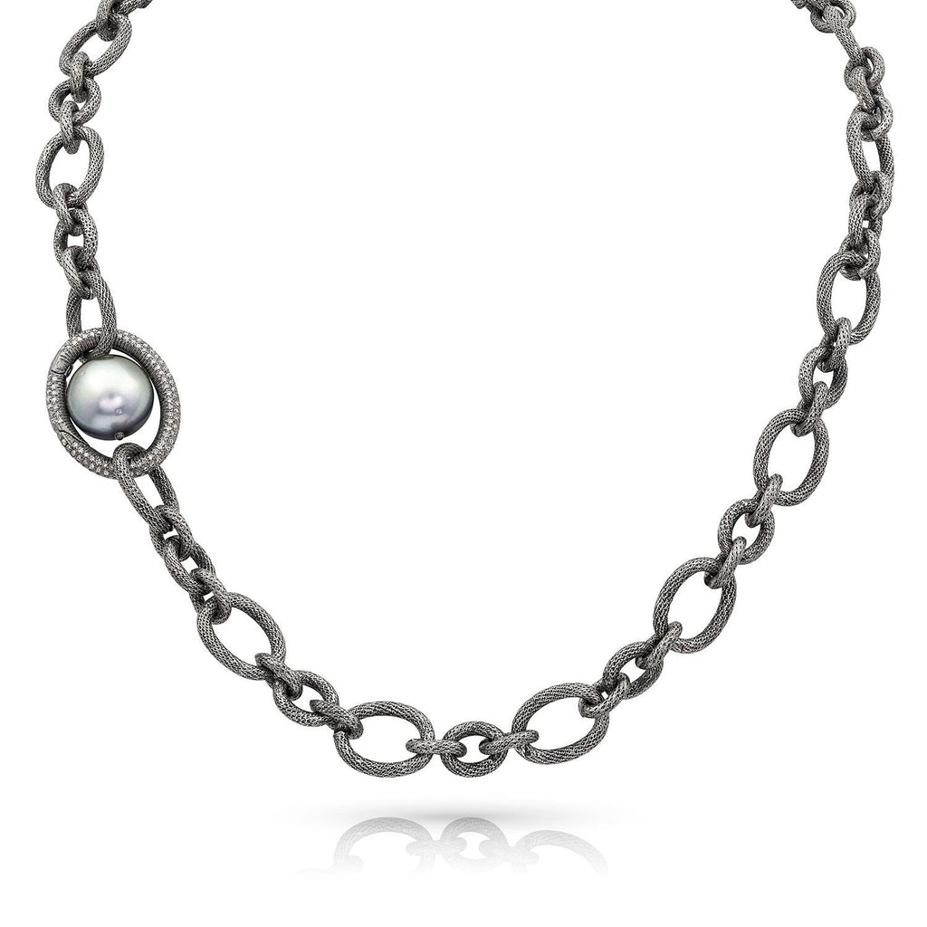Liza Beth Tahitian Pearl Detachable Diamond Silver Link Necklace and Bracelet - Szor Collections