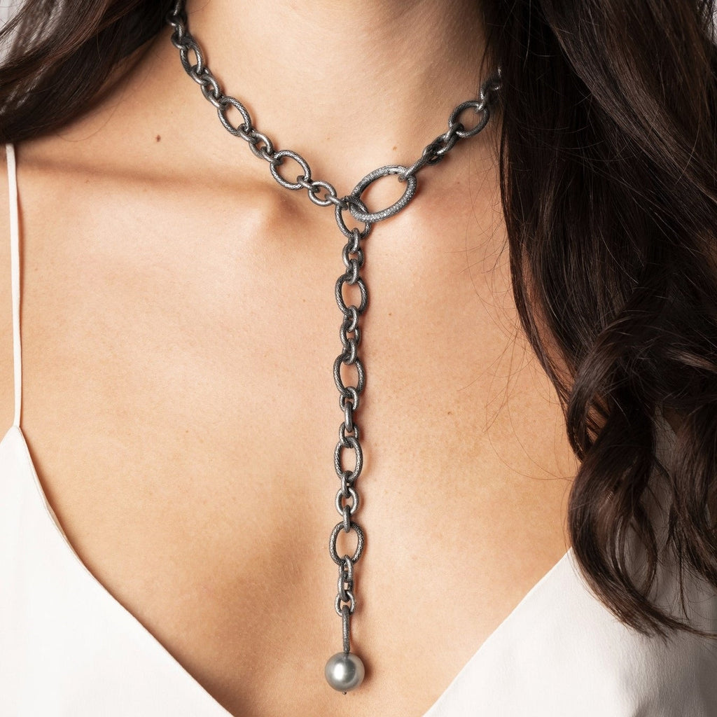 Liza Beth Tahitian Pearl Detachable Diamond Silver Link Necklace (Special Order) - Szor Collections