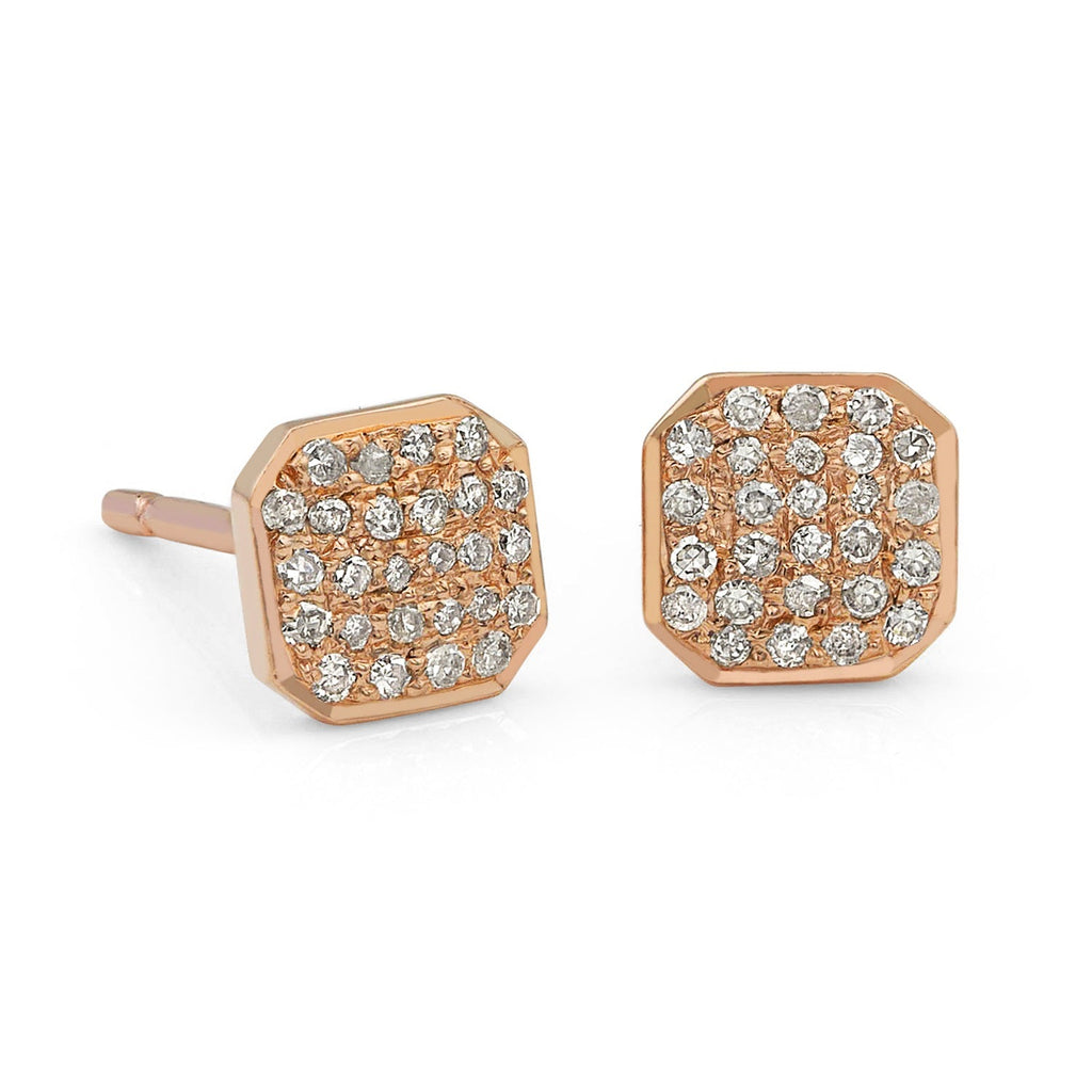 Liza Beth Square Diamond Rose Gold Stud Earrings (6mm) - Szor Collections