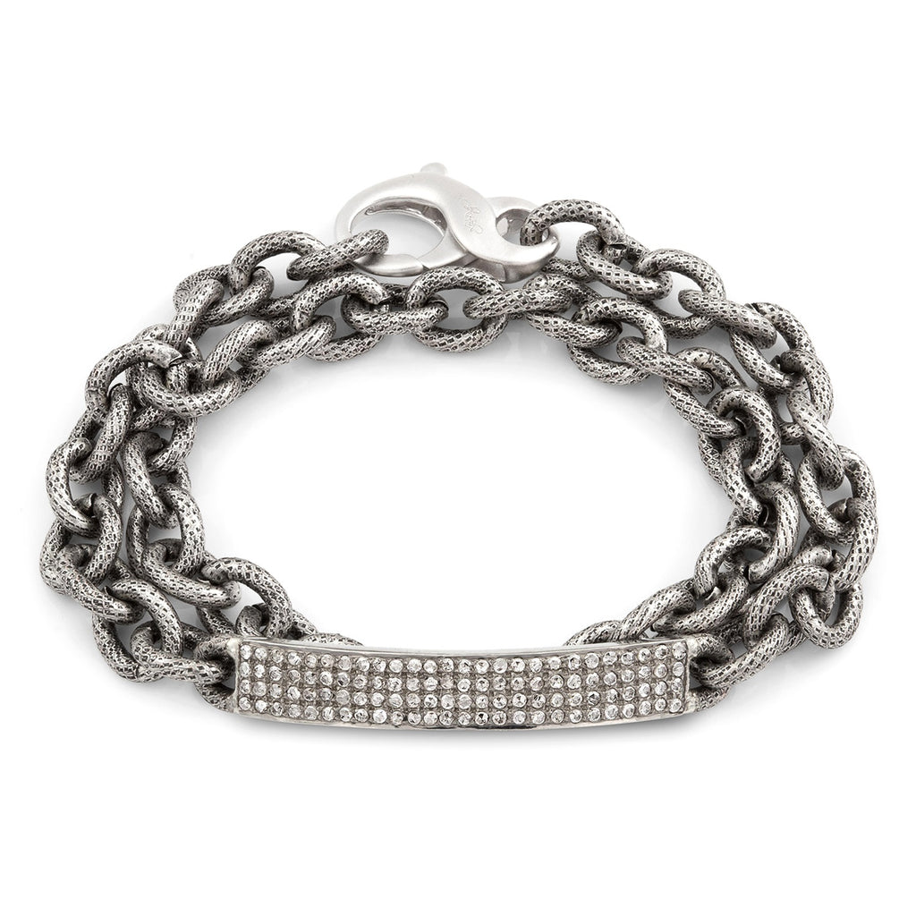 Liza Beth Four Row Diamond Curved Bar Double Wrap Bracelet - Szor Collections