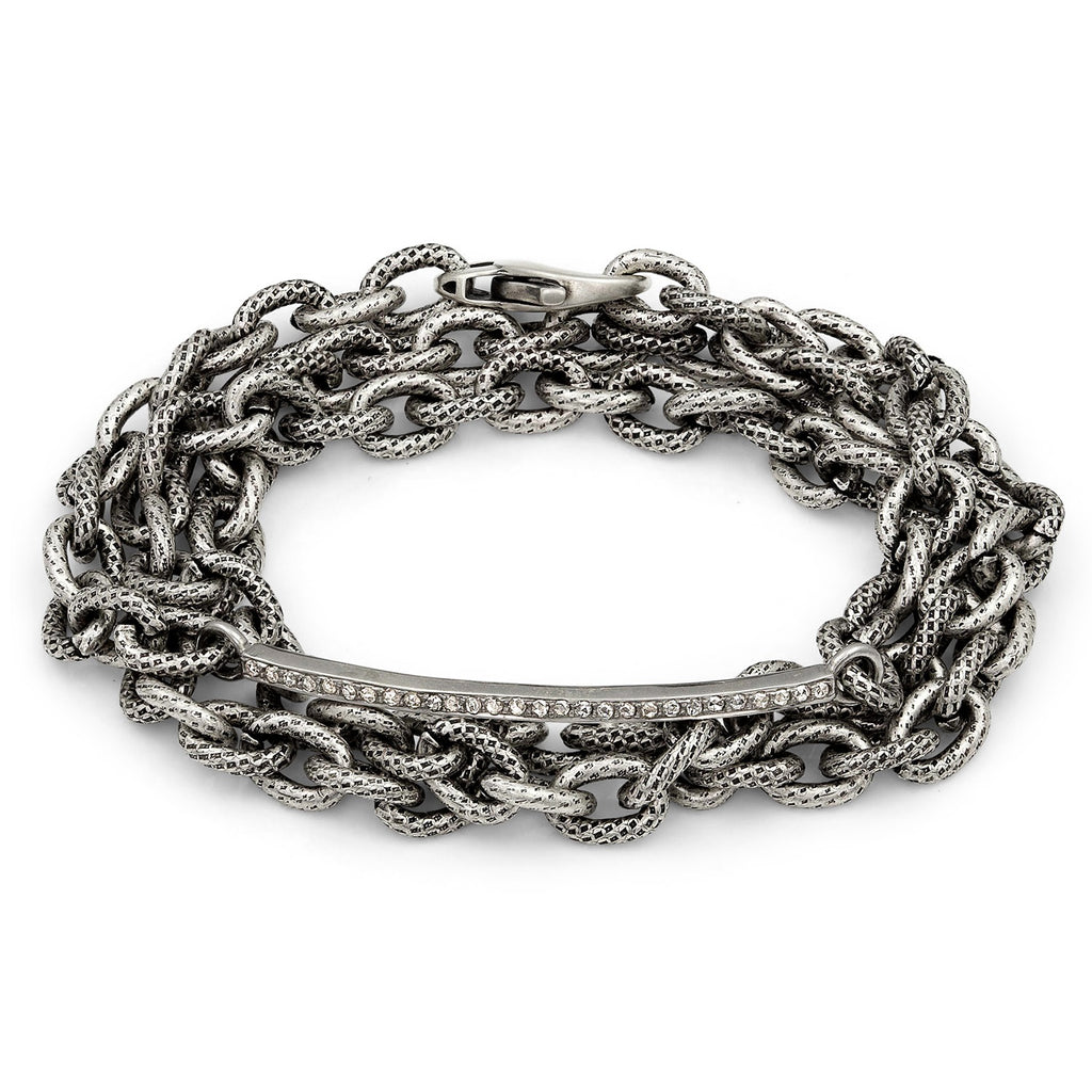 Liza Beth One Row Diamond Curved Bar Triple Wrap Bracelet - Szor Collections