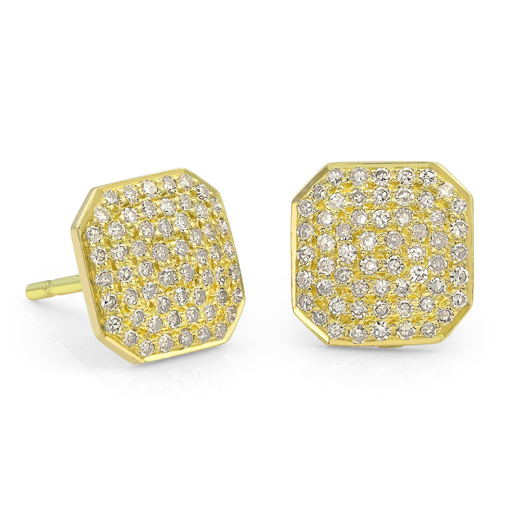 Liza Beth Square Diamond Yellow Gold Stud Earrings (8mm) - Szor Collections