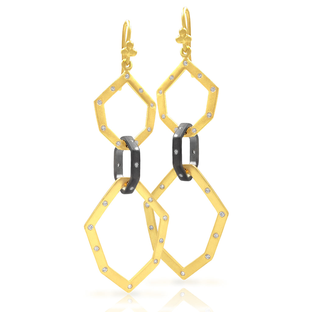 Lauren Harper White Diamond Geometric Link Oxidized Silver Gold Drop Earrings - Szor Collections