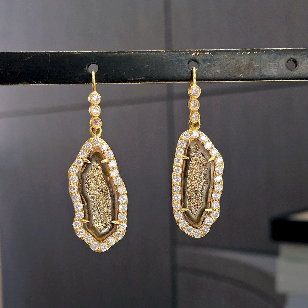 Lauren Harper One of a Kind Inlaid Gold Crystal Geode Diamond Drop Earrings - Szor Collections - 2