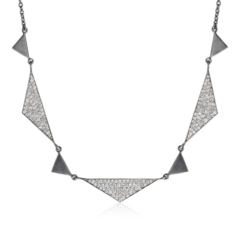 Lauren Harper 1.92 carat white diamond matte oxidized silver Trinity Necklace - Szor Collections
