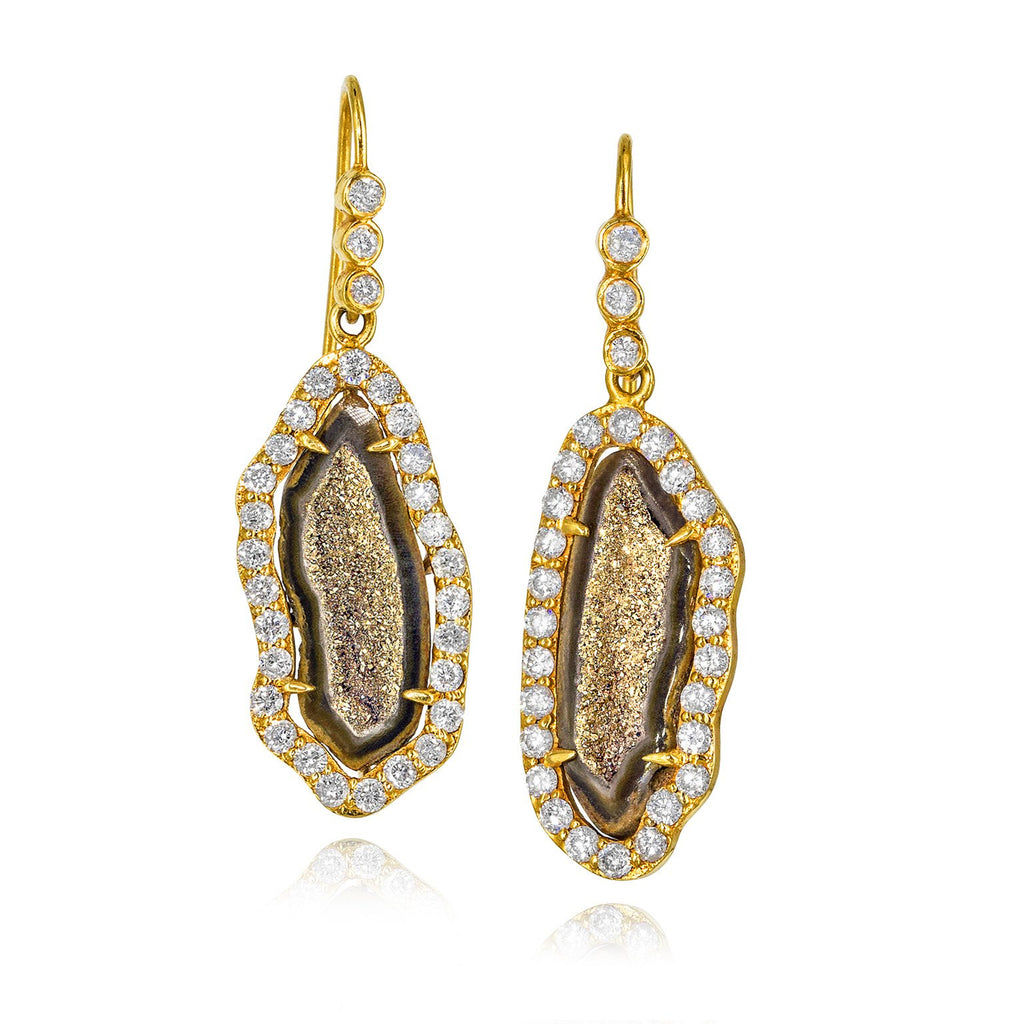 Lauren Harper One of a Kind Inlaid Gold Crystal Geode Diamond Drop Earrings - Szor Collections - 1