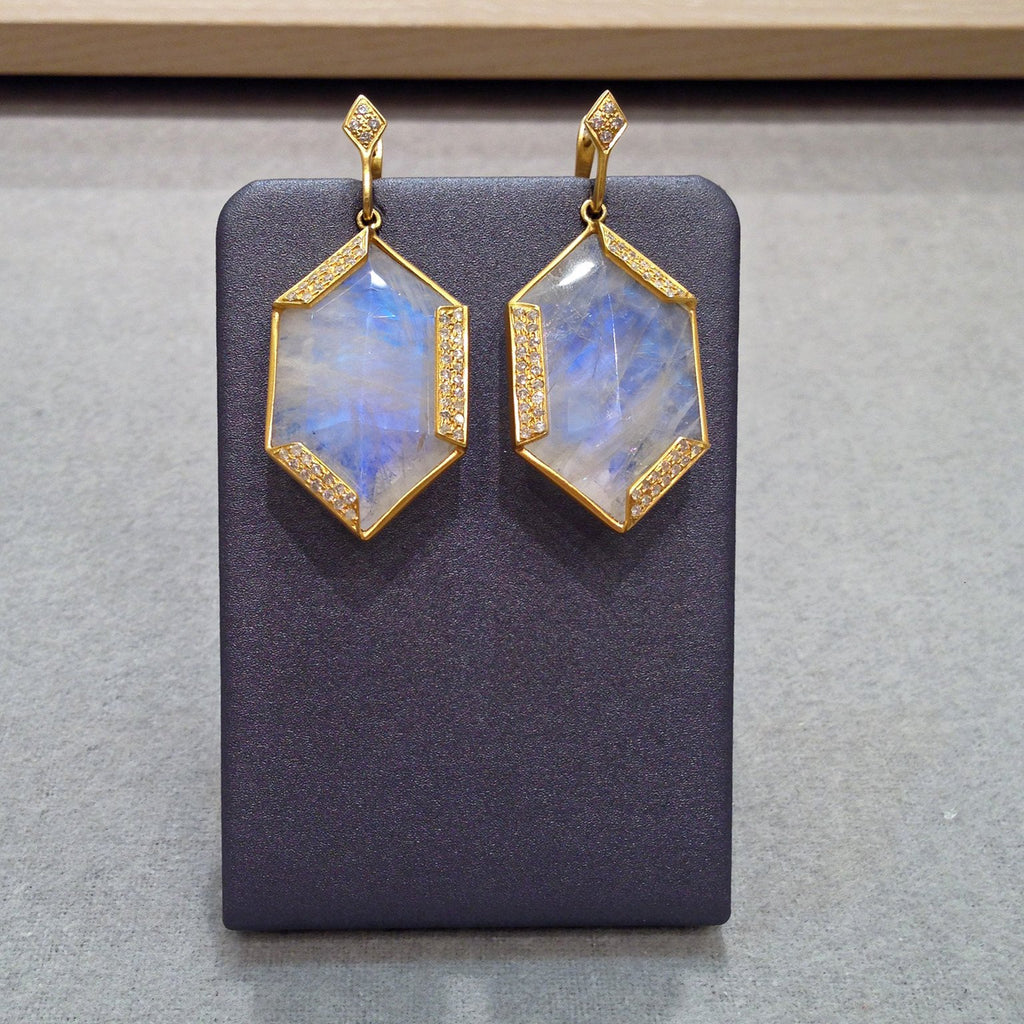 Lauren Harper Hexagonal Moonstone Diamond Earrings - Szor Collections