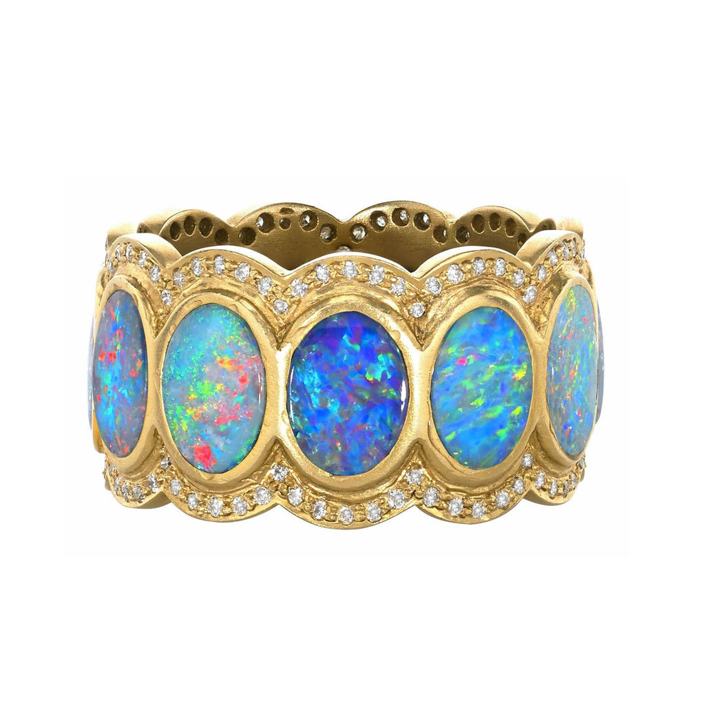 Lauren Harper Boulder Opal Disc Diamond Matte Gold Eternity Band Ring (Special Order) - Szor Collections - 1