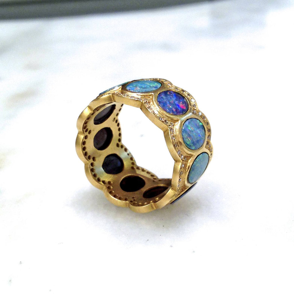 Lauren Harper Boulder Opal Disc Diamond Matte Gold Eternity Band Ring (Special Order) - Szor Collections - 2