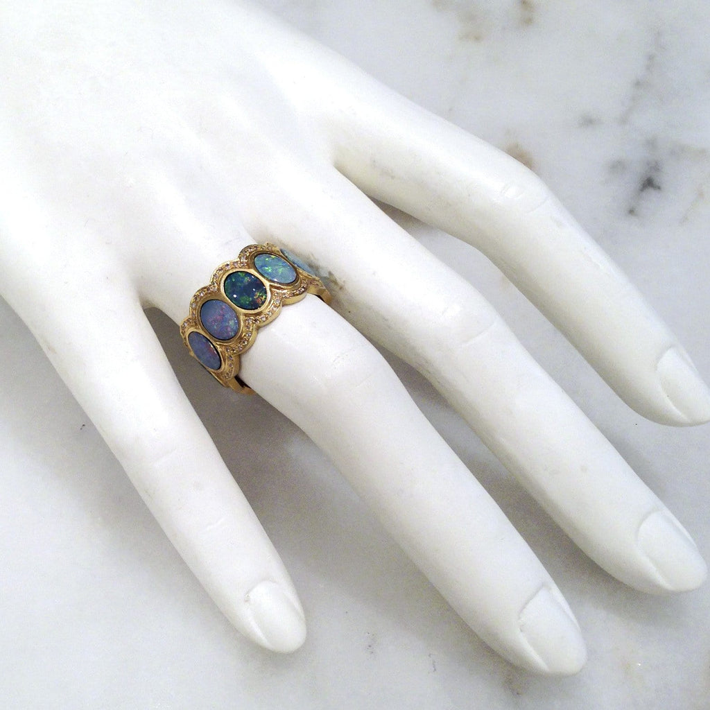 Lauren Harper Boulder Opal Disc Diamond Matte Gold Eternity Band Ring (Special Order) - Szor Collections