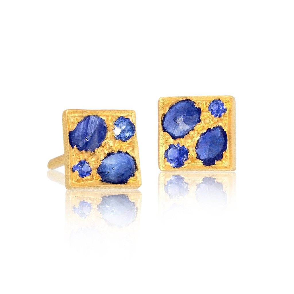 Lauren Harper Blue Sapphire Granulated Petite Quad Stud Earrings (Special Order) - Szor Collections
