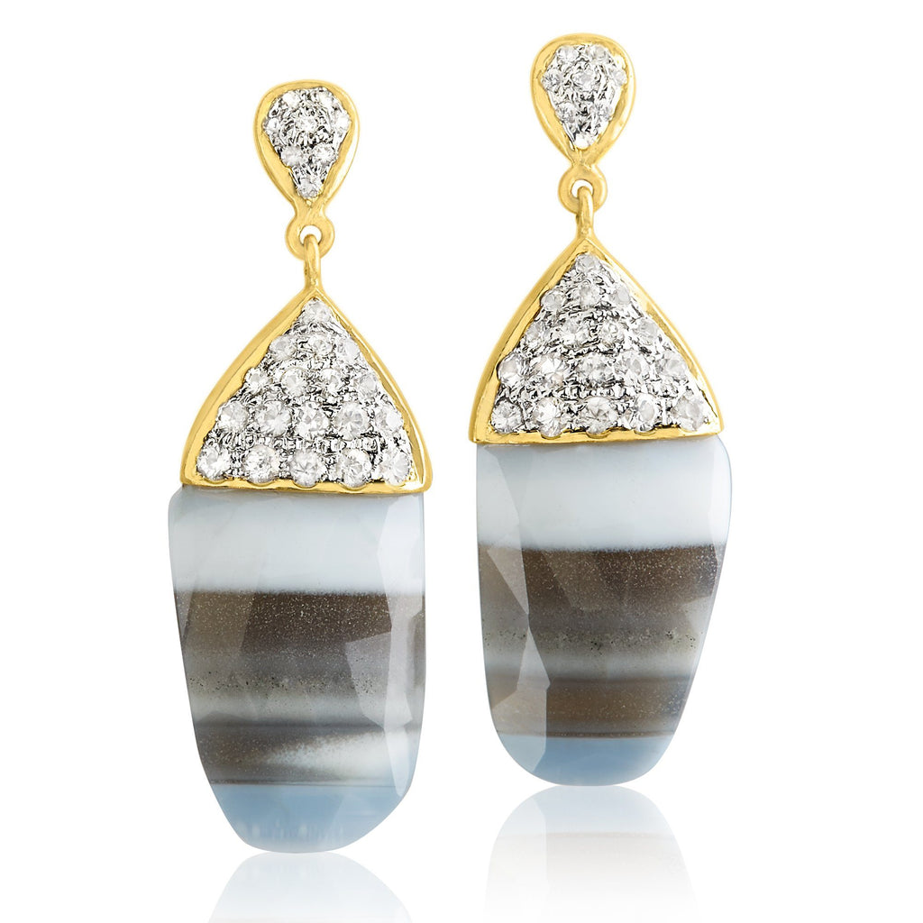 Lauren Harper Striped African Opal White Sapphire Gold Earrings - Szor Collections
